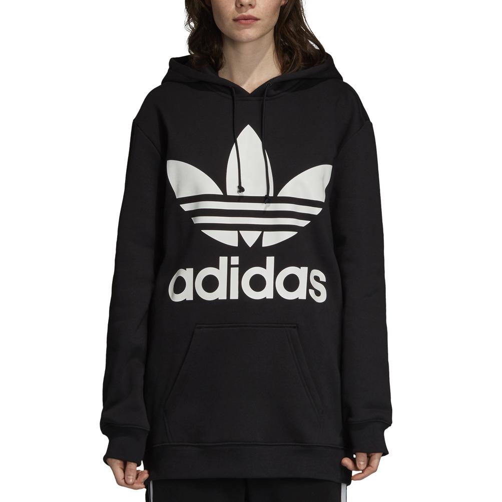 Dettagli su Felpa con cappuccio Donna Adidas Originals Oversize Trefoil Nero Codice DJ2094